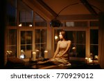 romantic evening with candles... | Shutterstock . vector #770929012