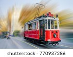 old red tram at the street with ... | Shutterstock . vector #770937286