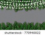 fir branch with neon lights on... | Shutterstock .eps vector #770940022