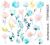 watercolour floral  set  ... | Shutterstock . vector #770958025