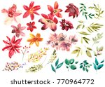 Stock photo watercolor floral set colorful purple floral collection with leaves and flowers drawing 770964772