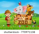 collection of zoo animals with... | Shutterstock .eps vector #770971138