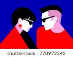 couple in love. two lovers ... | Shutterstock .eps vector #770972242