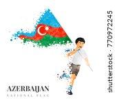 azerbaijan flag banner ribbon... | Shutterstock .eps vector #770972245