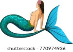 young mermaid with a large fish ... | Shutterstock .eps vector #770974936