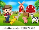 farm scenes with many animals... | Shutterstock .eps vector #770979562