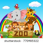 collection of zoo animals with... | Shutterstock .eps vector #770985322