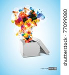 origami box with abstract... | Shutterstock .eps vector #77099080