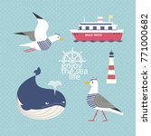 nautical poster concept. set of ... | Shutterstock .eps vector #771000682