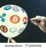crypto currency concept   bit... | Shutterstock . vector #771003286