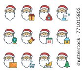 set of christmas icons with... | Shutterstock .eps vector #771015802