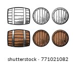 wooden barrel front and side... | Shutterstock .eps vector #771021082