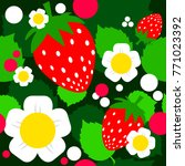 strawberry seamless pattern on... | Shutterstock .eps vector #771023392