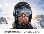 portrait of a snowboarder with... | Shutterstock . vector #771032278