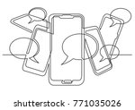 continuous line drawing of... | Shutterstock .eps vector #771035026
