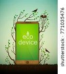 wooden smartphone on soil... | Shutterstock .eps vector #771035476