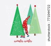 winter wonderland funny... | Shutterstock .eps vector #771044722