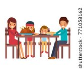 family smiling gathered sitting ... | Shutterstock .eps vector #771058162