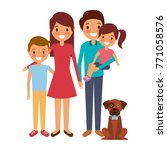 family together parents with... | Shutterstock .eps vector #771058576