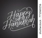 chalkboard happy hanukkah hand... | Shutterstock .eps vector #771060256
