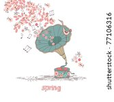 Spring Concept With Gramophone