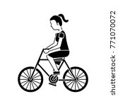 woman riding bicycle activity... | Shutterstock .eps vector #771070072