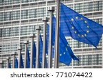 european commission eu flags in ... | Shutterstock . vector #771074422