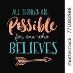 all things are possible for one ... | Shutterstock .eps vector #771083968