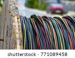power cable on wooden coil | Shutterstock . vector #771089458