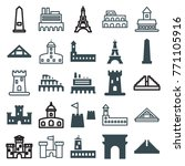 set of 25 monument filled and... | Shutterstock .eps vector #771105916