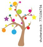 christmas naked tree with balls ... | Shutterstock .eps vector #771106756