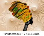 portrait beautiful african... | Shutterstock .eps vector #771113806