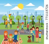 differents family activities in ... | Shutterstock .eps vector #771115726
