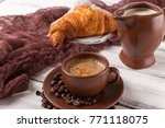 freshly baked croissant and cup ... | Shutterstock . vector #771118075