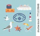 ocean cruise travel icon set.... | Shutterstock .eps vector #771119848