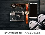 travel  camera  sneakers  us... | Shutterstock . vector #771124186