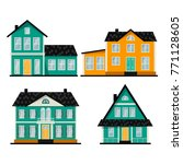 set of three cute cartoon... | Shutterstock .eps vector #771128605