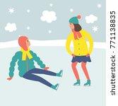 cartoon children ice skaters.... | Shutterstock .eps vector #771138835