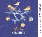 three  orange birds sitting on... | Shutterstock .eps vector #771140362
