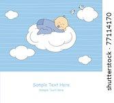 baby boy arrival announcement... | Shutterstock .eps vector #77114170