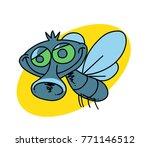 funny fly cartoon hand drawn... | Shutterstock . vector #771146512