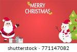 christmas card vector. santa... | Shutterstock .eps vector #771147082