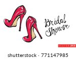 vector red heels with... | Shutterstock .eps vector #771147985