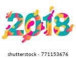 modern paper art 2018 design... | Shutterstock .eps vector #771153676