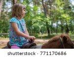 cute little caucasian girl...   Shutterstock . vector #771170686