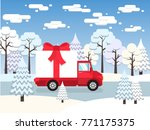 red truck carries among winter... | Shutterstock .eps vector #771175375