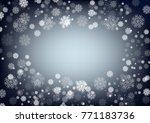 dark night blue snow flakes...   Shutterstock .eps vector #771183736