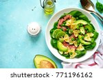 pasta salad with spinach ... | Shutterstock . vector #771196162