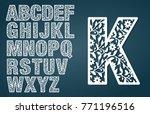 laser cut template. initial... | Shutterstock .eps vector #771196516