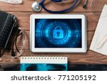 doctors workplace with white...   Shutterstock . vector #771205192